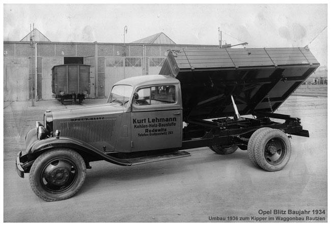 Opel Blitz Baujahr 1934 - Transportunternehmen Lehmann Schirgiswalde-Kirschau OT Rodewitz/Spree